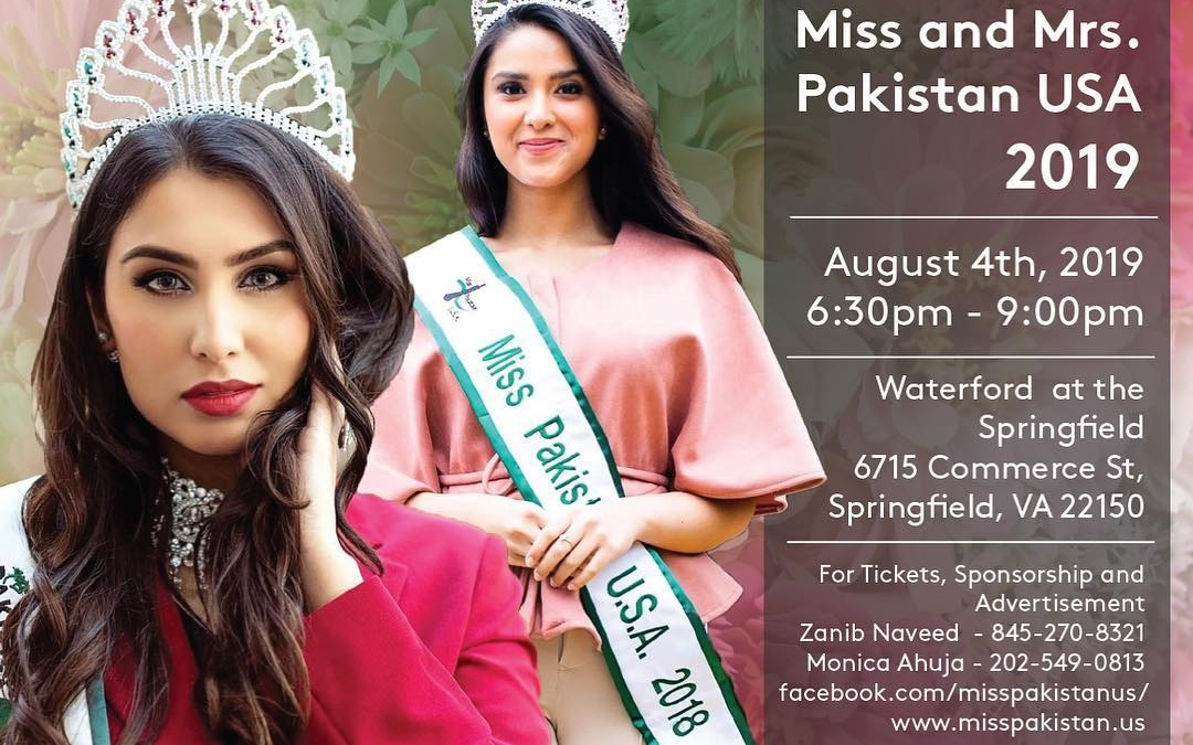 Miss and Mrs. Pakistan USA 2019 to be held on August 4th, 2019 in Virginia
